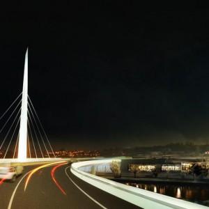 Mise en lumière du pont à haubans au-dessus du canal de Lachine, direction nord