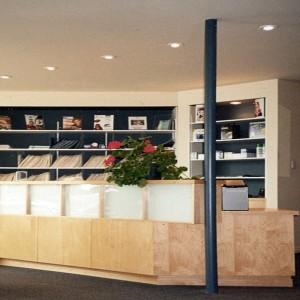 Le comptoir d'accueil à la clinique d'optométrie de Saint-Pamphile