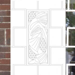 Le motif du bas-relief Arts & Crafts reproduit dans la grille de la porte