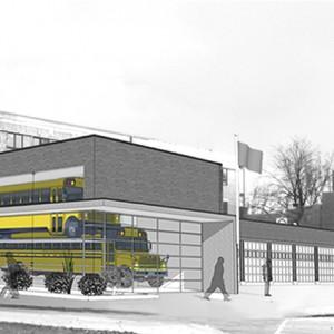 Le garage d'entretien pour autobus scolaires, arrondissement de Ville-Marie, Montréal